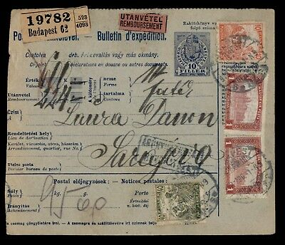 Dr Who 1918 Hungary Multi Franked Bulletin D'expedition C21943