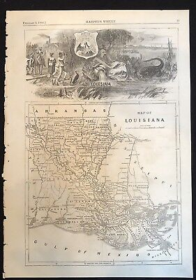 1866 MAP OF LOUISIANA at end of CIVIL WAR Skyline view of New Orleans SLAVERY