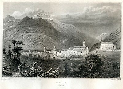 1840 Steel Engraving CHUR COIRE Switzerland canton of Grisons old antique print