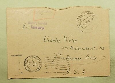 DR WHO 1946 GERMANY TO USA STAMPLESS POSTAGE DUE FEE PAID CIVIL CENSORED d18522