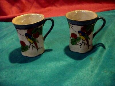 Pair Of Art Deco Japan Porcelain Lemonade Mugs. Parrot-Parkeet Decor.