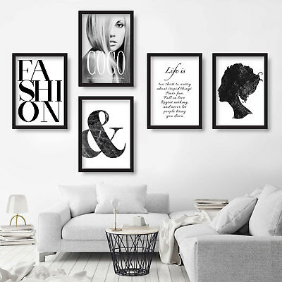 5 x FASHION COCO Chanel & LIFE quote wall art PRINT picture original painting