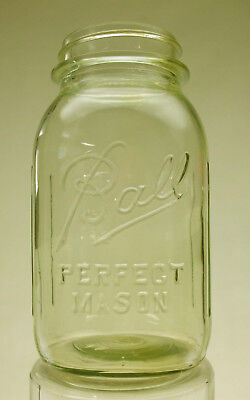 "Vintage Ball ""Perfect Mason"" Jar with Unique Faint Olive Green Tinge (1933-1962)"