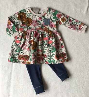 ***BNWT Next baby girl Bright Floral tunic dress and leggings set 9-12 months**