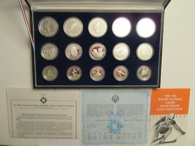 1984 Yugoslavia proof sterling silver Sarajevo Olympics. complete 15 coin set