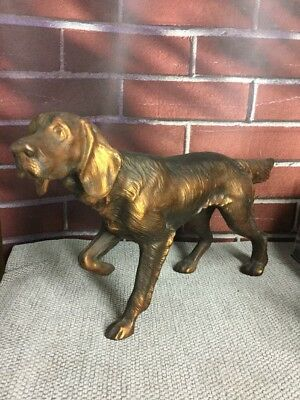 Vintage Hunting Dog Pointer Metal Statue