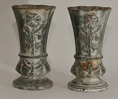 PAIR of ANTIQUE CAST IRON URNS WITH FLORAL DECORATIONS VASE or PLANTER