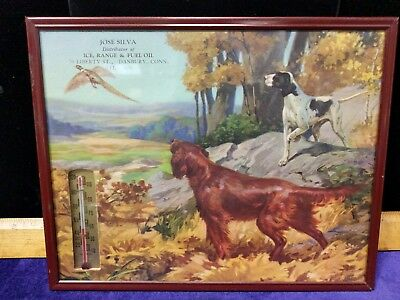 Early Advertising Thermometer,dogs, Ice, Range,&Fuel Oil, Danbury, Conn.