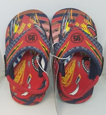 245d1282da08 Disney Pixar Cars Lightning Mcqueen Flip Flops Sandals Shoes Toddler Boys  NWT