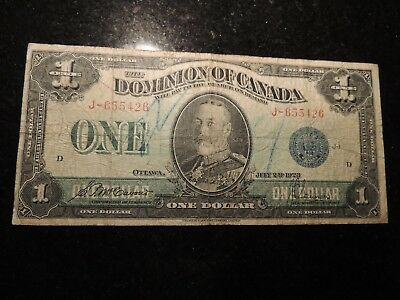 1923 DOMINION OF CANADA $ 1 ONE DOLLAR DC-25c  MCCAVOUR SAUNDERS J-655426 BLUE