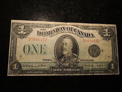 1923 DOMINION OF CANADA ONE DOLLAR $1 DC-25n CAMPBELL SELLAR GROUP 3 BLACK SEAL