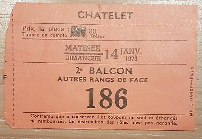 Ancien Ticket Contremarque D'entree Theâtre Chatelet Paris 14/01/1973