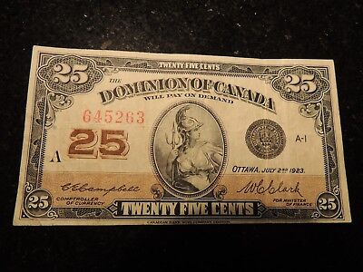 1923 DOMINION OF CANADA .25 CENTS SHINPLASTER PAPER 645263 CAMPBELL CLARK DC-24d