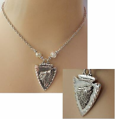 Wolf Necklace Arrowhead Pendant Silver Howling Jewelry Handmade NEW Fashion