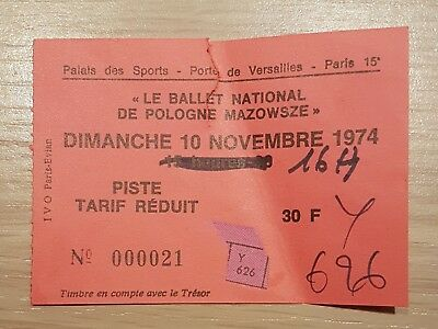 Ancien Ticket Palais Des Sports Ballet National De Pologne Mazowsze 10/11/1974