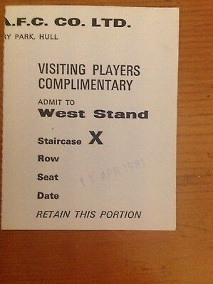 MATCH TICKET - HULL CITY dated 11 April 1981