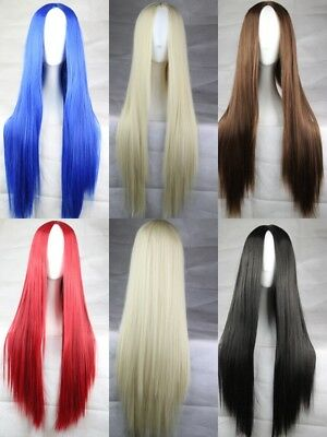 5 Farben Fashion lang 75cm gerade Cosplay Party Kostüm Anime Haar Volle Perücke