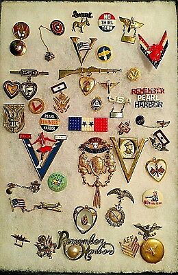 38 sweet heart pins and military buttons WWII Victory Day and more