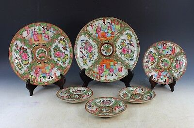 Group Of 6 Antique Chinese Rose Medallion Porcelain Plates