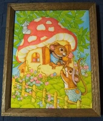 Vintage Mice Mouse Mushroom 3D Fabric Framed Handcrafted 1984 Picture Wall Decor
