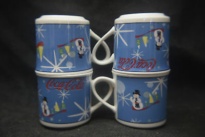 Coca-Cola Laughing Snowman Cups - Christmas - Set of Four