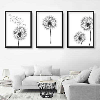 Set of 3 Original BOTANICAL DANDELION flower wall PRINT picture Sketches poster