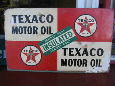 "RARE TEXACO HAVOLINE MOTOR OIL  10 1/2"" by 17 1/2""  TWO_SIDED SIGN Insulated"