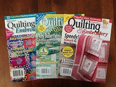 Quiltmaker's Quilting & Embroidery Magazine, Lot of 3, Pre-owned