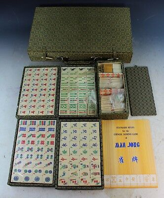 Vintage Chinese Bone & Bamboo Mahjong Set With Box