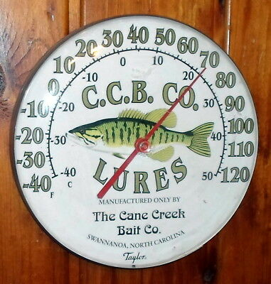 """Advertising Wall Thermometer - 12"""" Round - Cane Creek Bait Co Fishing Lures"""