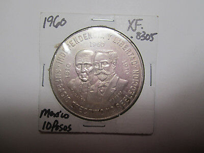 1960 Mexico Silver 10 Peso 150 Year War of Independnce