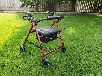 Drive Medical Red Rollator Folding Adjustable Walker Adult 4 Wheels FGR800RD