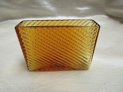 Vintage 1930's Amber Glass Swirl Pattern Counter Top Card Holder Fry Company