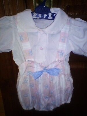 Vintage baby girl summer outfit. Shirt & Shorts set. Suit doll or baby.