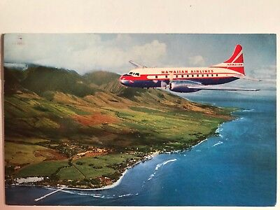 Hawaiian Airlines Super Convair Postcard Over Maui