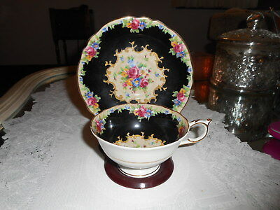 vtg paragon black and roses cup and saucer