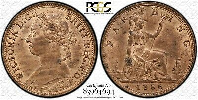 1886 Great Britain 1/4D PCGS S-3958 ms63RB