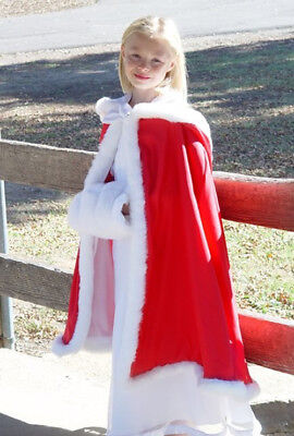 Childs Red Hooded Cloak Cape with Faux Fur Trim