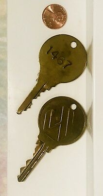 Lot of 2 Vintage Large Round Brass Hotel Room Keys