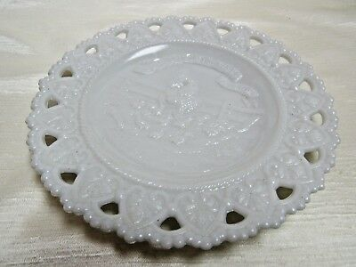1920 Vintage Milk Glass Little Hen Plate She Said She Would and She Did Lacy