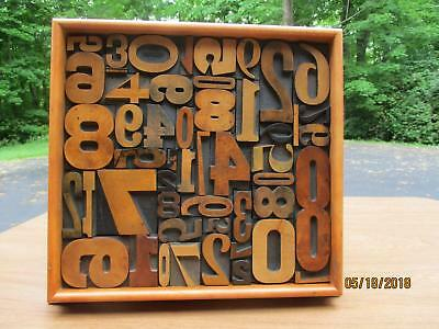 Antique Letterpress Printing Wood Type Graphic Design  All Numbers In Frame