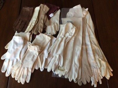 Lot Of 16 PAIRS LADIES VTG GLOVES LEATHER KID CLOTH VARIOUS SIZES FRANCE ITALY