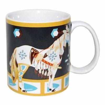 Horse of a Different Color MANY FEATHERS HORSE CERAMIC COFFEE MUG Mustang Horses