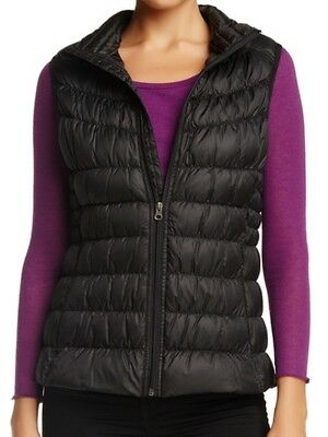 Be By Blanc Noir NEW Black Womens Large L Puffer Fill-Zip Vest Jacket $40 606