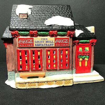 Coca-Cola 1995 Christmas Town Square Collection Lighted Grist Mill Restaurant