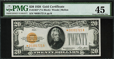 1928 $20 Gold Certificate FR-2402* - Star Note - PMG 45 Comment - Choice EF