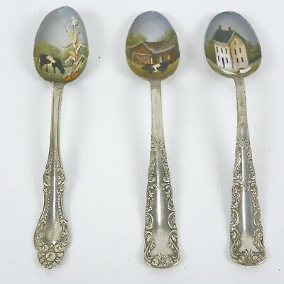 Vintage Spoons Set of 3  Hand Painted Folk Art Farmhouse Decor RJPE