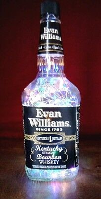 Evan Williams Whiskey Led Battery Empty Lighted Bottle/lamp~Subtle Liquor Lights
