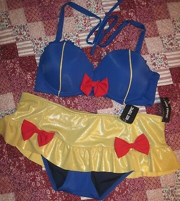 Womens Hot Topic Disney Snow White 2 Piece Swim Suit Swimsuit Bikini Large Nwt