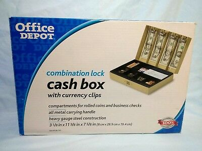 New Cash Box With Money Tray Personal Sefty Combination Key Office Depot